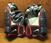 Vintage Nike Detroit Vipers Game Used Hockey Gloves Made In Canada