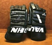 Vaughn F1500 Detroit Vipers Game Used Hockey Gloves 12 Peter Ciavaglia