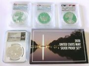 4-graded 1oz Silver Rounds- 2016, 2017, 2019, 2019w And 1- 2020 Us Mint Set.