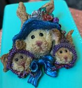 Pin By Boyd's Bears And Friends Brown Three Easter Bunny Faces In Bonnets