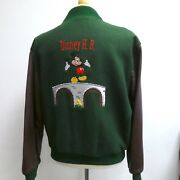 Vtg Rare Disney Mickey Mouse Brown Green Leather Embroidered Bomber Jacket M