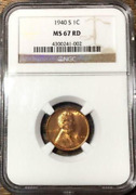 1940-s 1c Lincoln Cent Low-pop Key-date Ngc Ms-67 Scorching Red Highest Grades