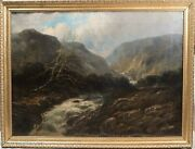 Antique French Oil Painting Attr Paul Desire Trouillebert River Fishing, Large