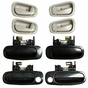 Outside And Inside Door Handle Black/gray Fits For 98-02 Toyota Corolla 8 Set