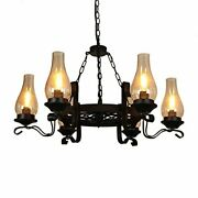 6-light Black Metal Wagon Wheel Chandelier With Chimney Glass Shade For Kitchen