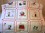 Peanuts Snoopy Vintage Fabric Quilted Baby Blanket Striped Back - New -rare