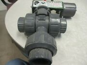 3-way Pvc Ball Valve Nibco Chemtrol 1 Cl100 Socket End W/ Space Saver Actuator