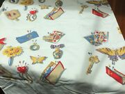 Vtg Wilendur Printed Cotton Tablecloth 53 By 48 His And Hers Mementos