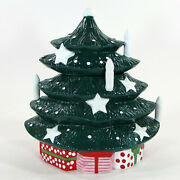 Waechtersbach Christmas Tree 10 Shaped Cookie Jar Green Red Gifts White Candles
