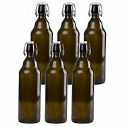 32 Oz Amber Glass Beer Bottles For Home Brewing - 6 Pack With Flip Caps
