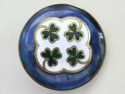 Antique Dyed Pearl And Shamrock Enamel Ome Button - Set In Metal