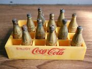 Rare Vintage Coca-cola Advertising Miniature Coke Bottles And Crate.