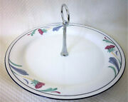 Lenox Poppies On Blue Chinastone 10 3/4 Tidbit Serving Tray With Silver Handle