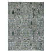 9and039x11and0396 Gray Willow And Cypress Tree Design Natural Wool Hand Made Rug G54870