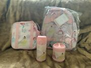 4 Pottery Barn Kids Disney Princess Small Backpack Lunchbox Water Bottle Thermos