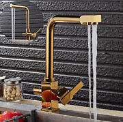 Gold Kitchen Faucet Swivel Single Hole Double Water Outlets Brass Mixer Sink Tap