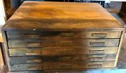 Vintage Wood Machinists Cabinet 5 Drawers