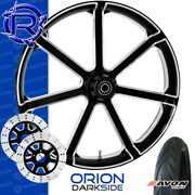 Rotation Orion Darkside Custom Motorcycle Front Wheel Package Harley Touring 23
