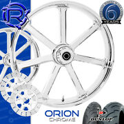 Rotation Orion Chrome Custom Motorcycle Wheels Package Harley Touring Baggers