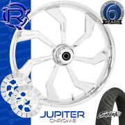 Rotation Jupiter Chrome Custom Motorcycle Wheel Front Package Harley Touring 26