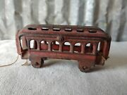 Antique 4 Red Cast Iron Trolley Pull Toy Caboose Train Hubley Arcade Metal