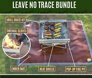 Leave No Trace Fire Pit And Grill Bundle - Pop-up Pit Grill Ember Mat + Gloves