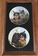 2 Vintage Framed Collectible Pride Of America's Indians Plates By Perillo