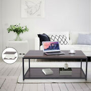 Sturdy Industrial Design Metal Leg Wooden Coffee Table For Living Room 2 Layer