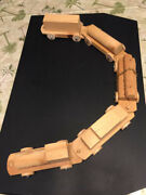 Vintage Wood Toy Pull Train Set - 5 Pieces - Wooden Hand Made
