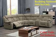 Modern Contemporary Tan Reclining Sectional Sofa Set Wedge Recliners Couch