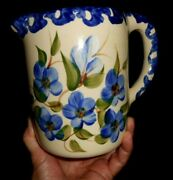Roseville Ohio Pitcher Alpine Pottery Blue Flowers Hand Painted 2000