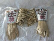 Antique Native American Plateau Plains Fully Beaded Hide Gauntlet Gloves 1900and039s