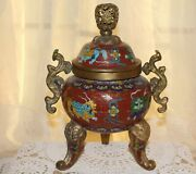 Antique Chinese Tri Footed Incense Burner Cloisonne Foo Dogs Elephant Trunk Feet