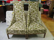 2 Mid Century High Back Urban Furniture Chairs Wooden Flowers Seperate Cushions