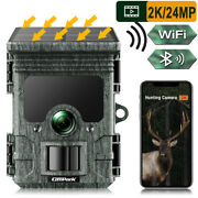 2k Wifi Rechargeable Hunting Camera 24mp Solar Wildlife Trail Cam Night Vision