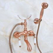 Antique Red Copper Brass Bathroom Claw Foot Tub Faucet Taps Wall Mounted Sna364