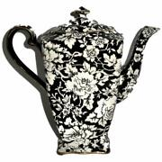 Royal Winton Grimwades Peony, Black With White Flowers, Coffee Pot