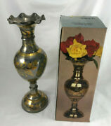 Hand Etched Solid Brass 14 Vase Floral Ruffled Scalloped Edge Made In India