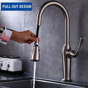 Retractable Long Handle Kitchen Faucet Commercial Spray Head 3 Way Water Outlet