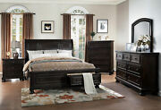 Transitional Gray-toned Brown Bedroom Furniture - 5pcs King Storage Bed Set Ia56