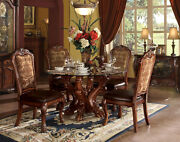 Cherry Brown 5 Piece Dining Room Set W/ Round Pedestal Glass Table And Chairs Iaci