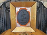 Antique Wedgwood Basalt Venus And Cupid Night High Relief Self-framed Oval Plaque