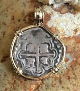 Pirate Coin Treasure Piece Of Eight Authentic 2r Cob Set Solid 14k Gold Pendant