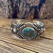 Navajo Harry Begay Royston Turquoise And Ingot Silver Cuff Signed