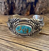 Navajo Harry Begay Pilot Mountain Turquoise And Ingot Silver Cuff Signed
