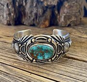 Harry Begay Royston Turquoise And Ingot Silver Cuff Signed