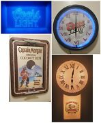 Home Bar Package Deal Including New Neon Sign, 2 Clocks And Mirror
