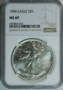 1990 Silver American Eagle Dollar / Ngc Ms69 / Mint State 69 / Top Rated