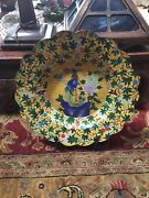 Extralarge Vintage Rare Oriental Cloisonne Charger 22 Inches In Diameter