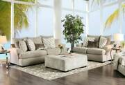 New Transitional Beige Chenille Fabric Living Room Sofa Couch Loveseat Set Ige6